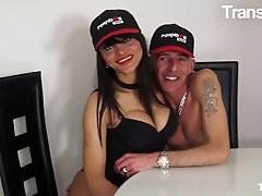 TRANSBELLA - FABIAN FEITOSA Fat Boobs BRAZILIAN Shemale Nailed IN HER Arse BY 2 Men