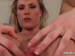 Harmony Rose in mega-slut cuckold vignettes of creampie slurping warm wifey domme while spouse observes and is locked in virginity