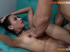 Puny Latina Bombshell Gets Packed Up By Fat Hard-on