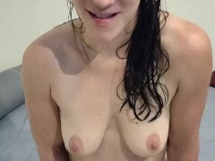 Bare white chick newly showered taunts you, she will make you jizz - JOI