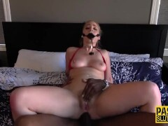 Ballgagged light-haired obedient gets bi-racial rectally screwed and playthings