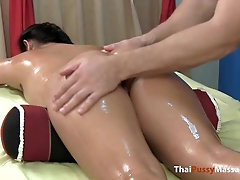 Little Thailand bombshell has her enraptured figure lubed up and rubbed