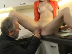 Pleasuring youthful woman gives a ardent rail to an old crock