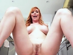 Dissolute redhead Lauren Phillips nails in lots of poses