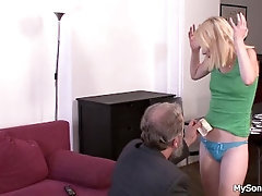 Old parent in law blond woman for stealing
