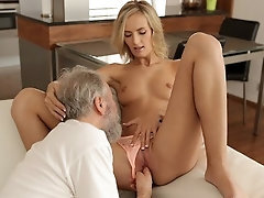 OLD4K After drinking tea lady and her old hubby have lovemaking on the bed