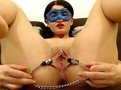 vagina stretched with nips clamps, close up and finger-tickling