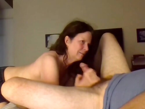 Horny Mature Woman Filming Herself Sucking Her Lovers Cock