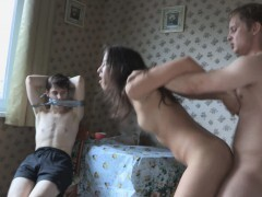 Lean black-haired heads on a naughty vengeance fuck in front of her roped and gagged BF