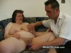 Junior man faux-cocks old womans ball-sac and screws her