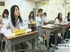 Subtitled Japanese schoolgirls sexual education class