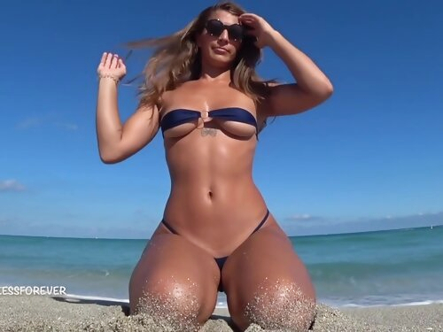 Nasty Milf Shows Her Hot Boobs On The Beach